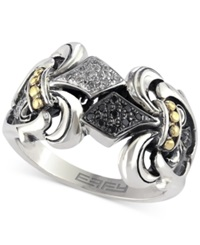 Effy Collection Balissima By Effy Black And White Diamond Ring 1 10 Ct. T.W. In 18K Gold And Sterling Silver
