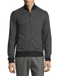 Billy Reid Jacquard Knit Track Jacket Charcoal Grey Men's