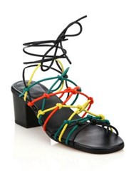 Chlo Knotted Leather Ankle Wrap Sandals Multi