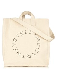 Stella Mccartney Logo Print Canvas Tote Cream