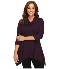 Karen Kane Plus Size Cowl Neck Handkerchief Top Eggplant Women's Clothing Purple