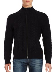Dockers Premium Edition Cable Knit Zip Up Sweater Black