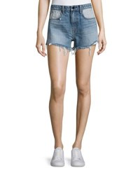 Alexander Wang Bite Denim Cutoff Shorts Indigo Flip Light Indigo