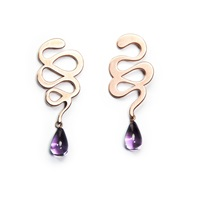 Ellapolo Eva Rose Gold Earrings With Amethyst