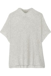 The Elder Statesman Effa Cashmere And Silk Blend Poncho Light Gray