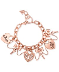 Guess Rose Gold Tone Swag Charm Bracelet