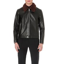 Alexander Mcqueen Shearling Collar Leather Jacket Vintage Black Brown