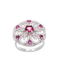 Lord And Taylor White Fuchsia Cubic Zirconia Flower Ring Silver Red