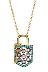 Argentovivo 18K Gold Plated Sterling Silver Cz Lock And Key Pendant Necklace Blue