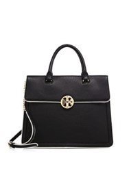Tory Burch Duet Chain Convertible Leather Satchel Black
