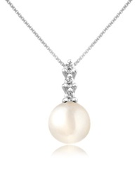 Forzieri Diamond And Pearl Pendant 18K Gold Necklace White Gold
