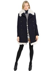 Sonia Rykiel Shearling And Boiled Wool Coat