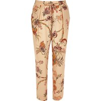 River Island Womens Pink Floral Print Soft Tapered Trousers