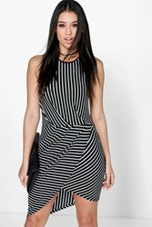 Boohoo Striped Wrap Skirt Bodycon Dress Black