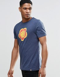 Pretty Green T Shirt With Flower Badge Print In Navy Navy