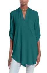 Lush Women's 'Perfect' Roll Tab Sleeve Tunic Deep Teal