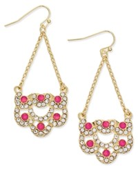 Inc International Concepts Gold Tone Pink Stone And Pave Scalloped Chandelier Earrings Only At Macy's