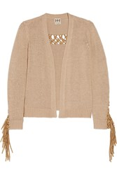 Haute Hippie Maddie Faux Suede Trimmed Knitted Cardigan Nude
