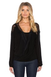 Heather Long Sleeve Lace Wrap Top Black