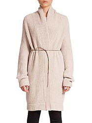 Helmut Lang Wool And Cashmere Belted Long Cardigan Natural