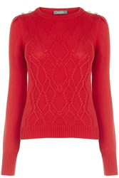 Oasis Military Cable Knit Red