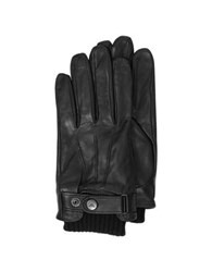 Armani Jeans Black Leather Men's Gloves