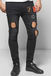 Boohoo Badged Washed Ripped Jeans Washed Black