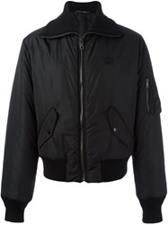 Dolce And Gabbana Embroidered Crown Bomber Jacket Black