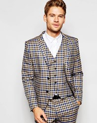 Selected Homme Exclusive Heritage Check Suit Jacket In Skinny Fit Brown