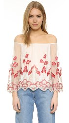Alice Olivia Priya Embroidered Off Shoulder Blouse Cream Poppy