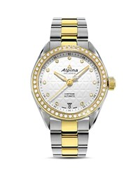 Alpina Comtesse Two Tone Sport Watch With Diamonds 34Mm White Gold