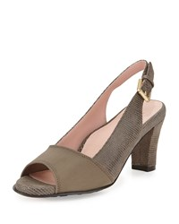 Taryn Rose Fortula Peep Toe Slingback Pump Taupe Brown