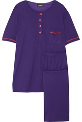 Cosabella Bella Cotton And Modal Blend Pajama Set Purple
