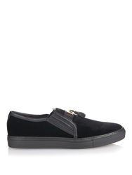 Balmain Leather Tassel Velvet Skate Shoes