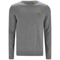 Lyle And Scott Vintage Men's Long Sleeve Crew Neck Cotton Pullover Mid Grey Marl
