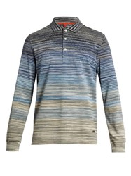 Missoni Long Sleeved Striped Polo Shirt Navy Multi