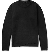 Raf Simons Distressed Ribbed Virgin Wool Sweater Black