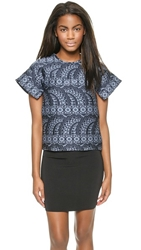Cynthia Rowley Jacquard Flutter Sleeve Top Navy