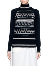 Hillier Bartley Fair Isle Intarsia Turtleneck Sweater Black
