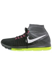 Nike Performance Zoom All Out Flyknit Cushioned Running Shoes Black White Cool Grey