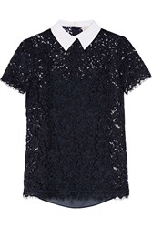 Michael Michael Kors Stretch Cotton Poplin Trimmed Corded Lace Top Navy
