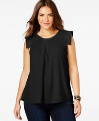 Ing Plus Size Cap Sleeve Blouse Black