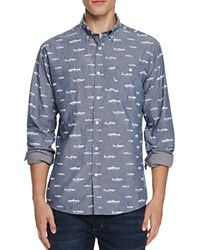 Free Nature Fish Print Slim Fit Button Down Shirt Compare At 62 Blue