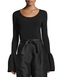 Elizabeth And James Willow Ribbed Bell Sleeve Top Black