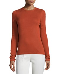 Carolina Herrera Classic Cashmere Blend Sweater Women's Size Xs Red Brick