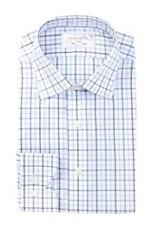 Lorenzo Uomo Long Sleeve Trim Fit Multi Windowpane Dress Shirt Blue