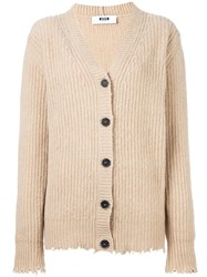 Msgm Chunky Cardigan Nude And Neutrals