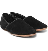 Derek Rose Crawford Shearling Lined Suede Slippers Black