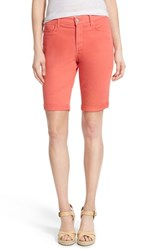 Petite Women's Nydj 'Brielle' Roll Cuff Stretch Twill Shorts Coral Branch