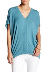 H By Bordeaux V Neck Dolman Sleeve Tee Green